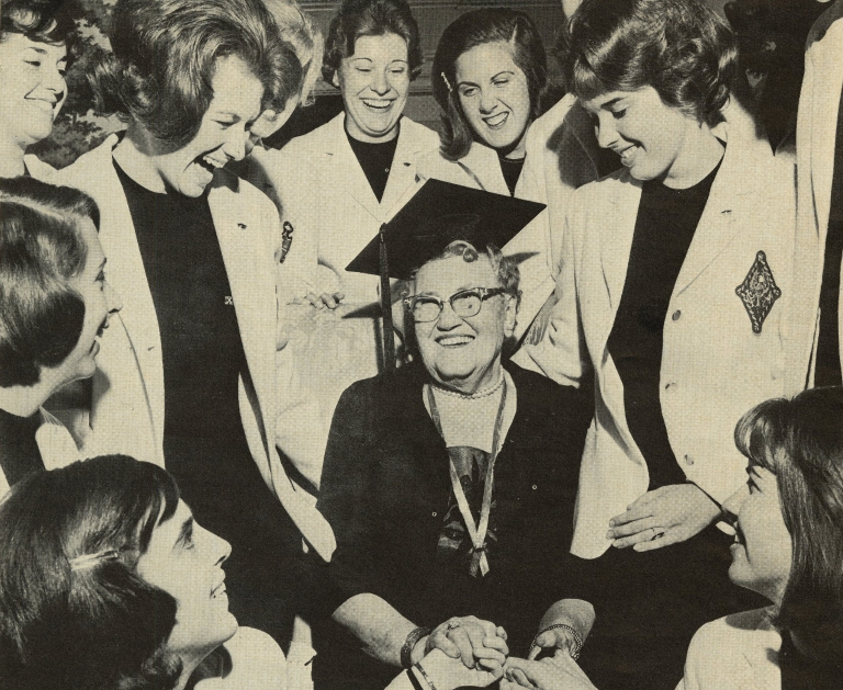 Anna Wells with members of the Mortar Board Society