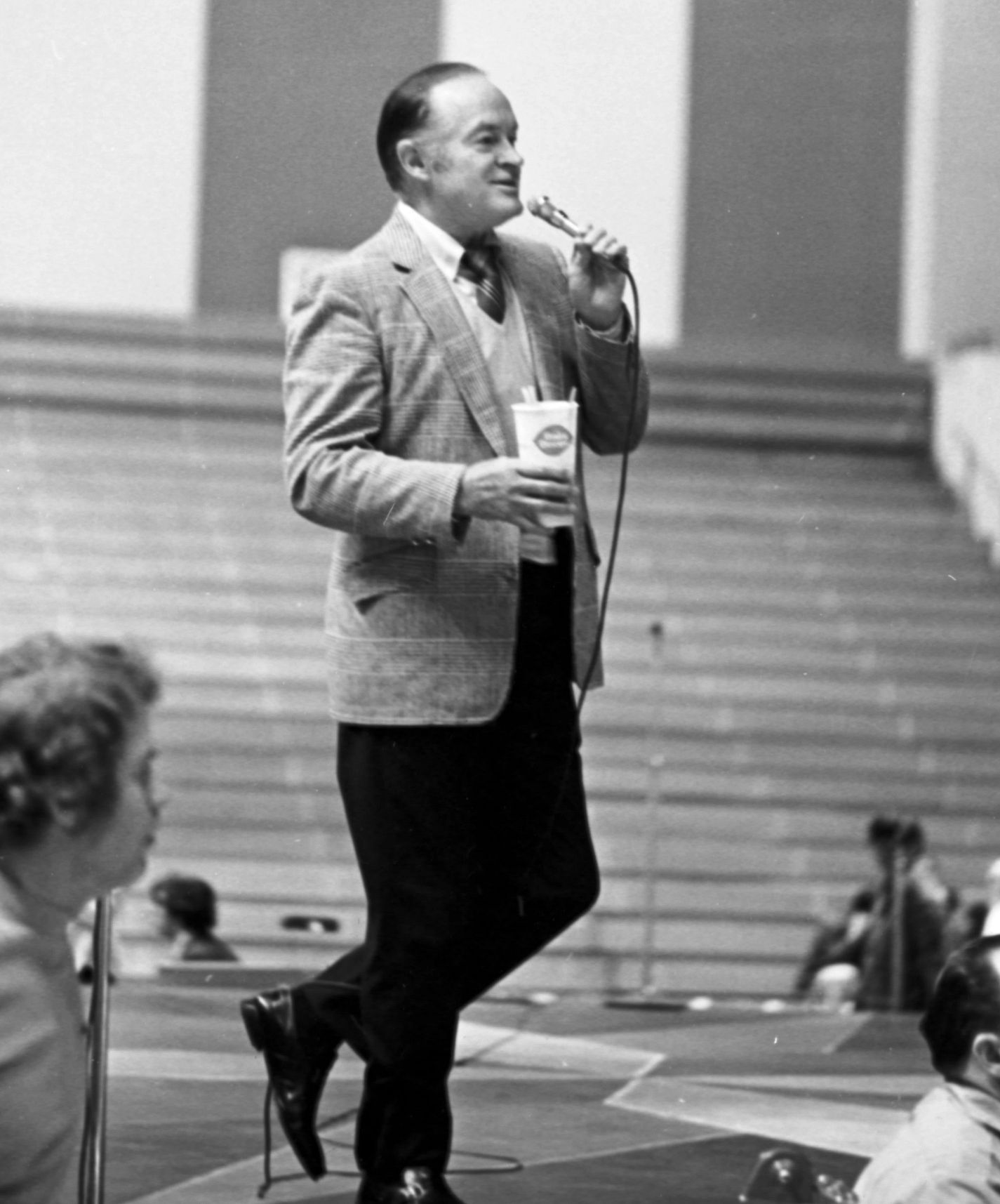 Entertainer Bob Hope rehearses for a performance