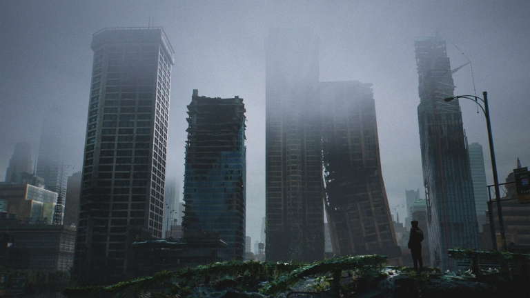 a cloudy and broken city