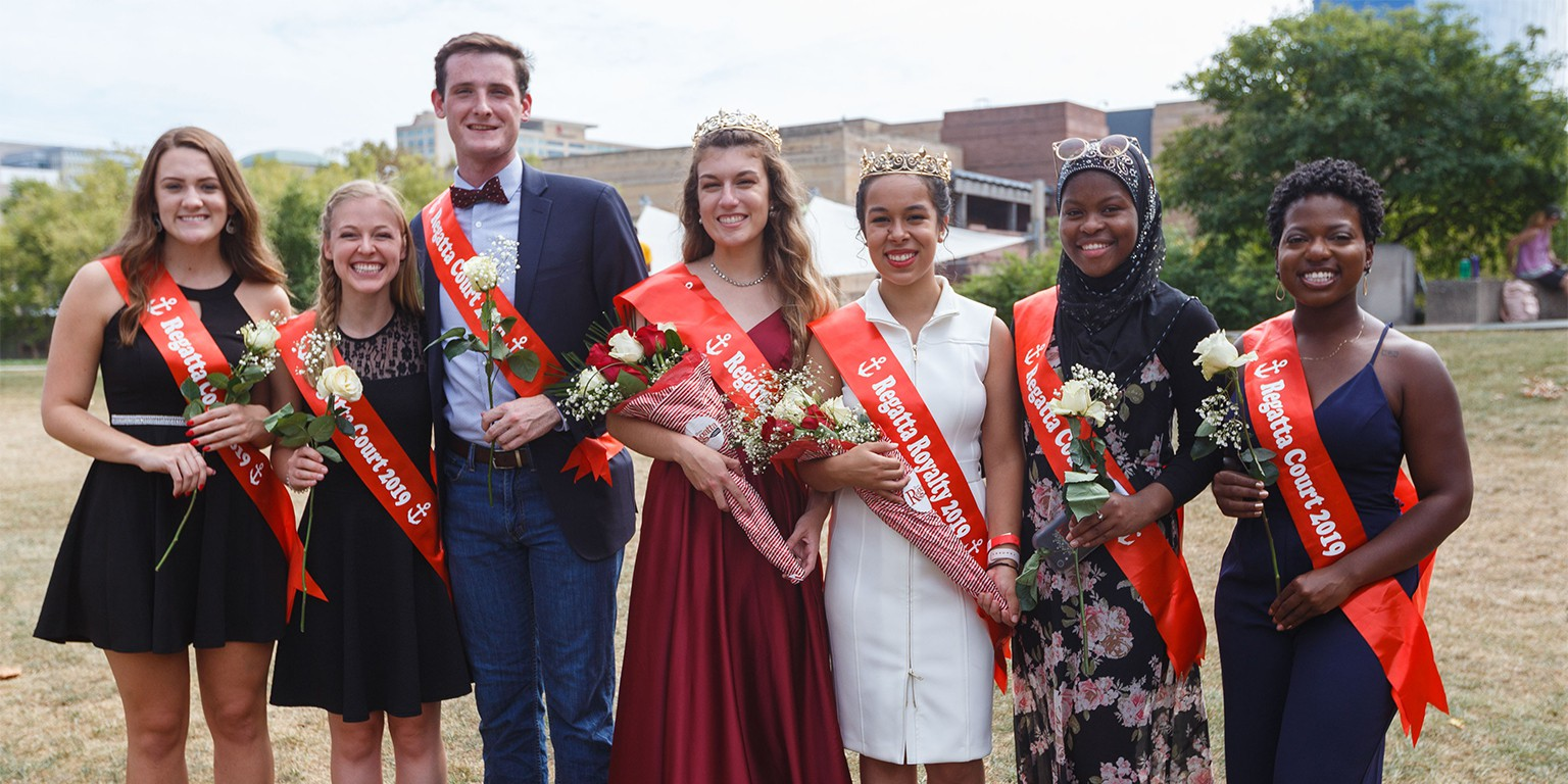 Seven students on the Regatta Royalty smile for the camera after the two winners were crowned.