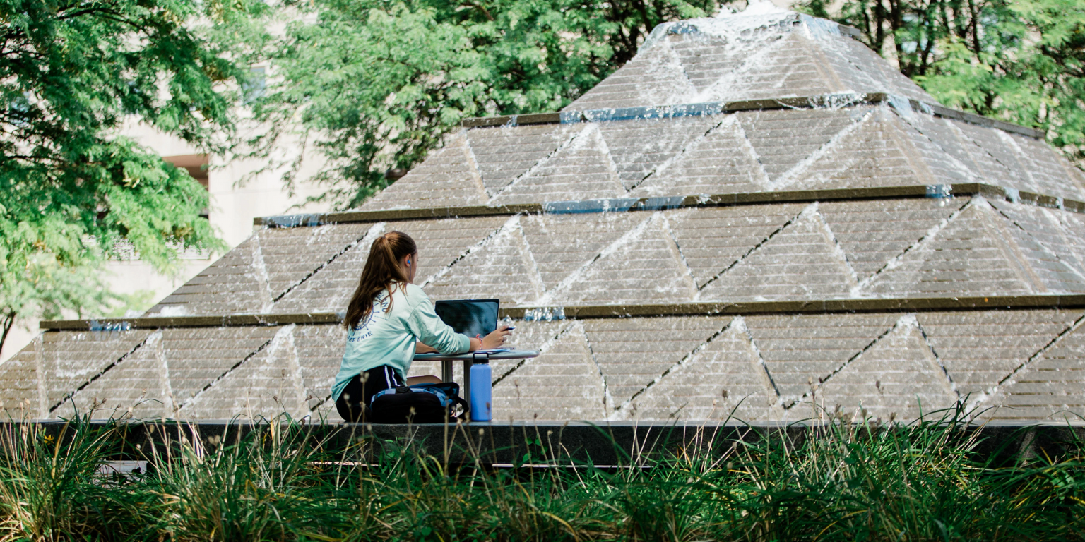 a student works on her laptop at Wood Fountain