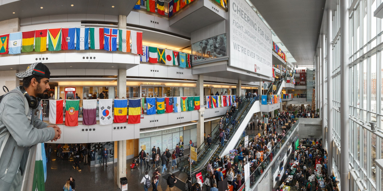 The Campus Center is filled with people and decorations for the International Festival.