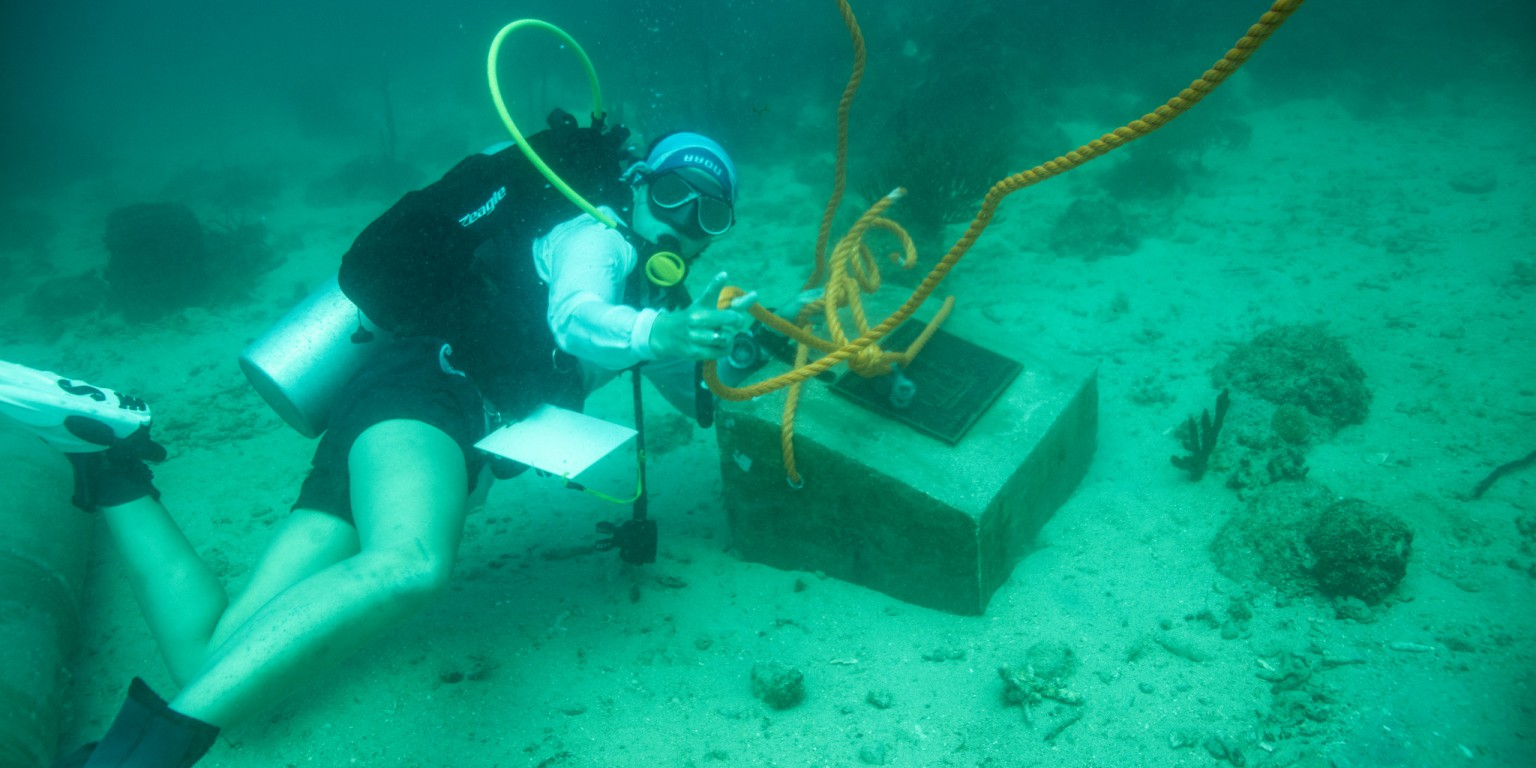 IU researcher Tori Galloway positions bronze dedication plaque for the underwater museum