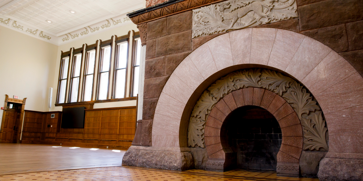 Large circular hearth in the former reading room