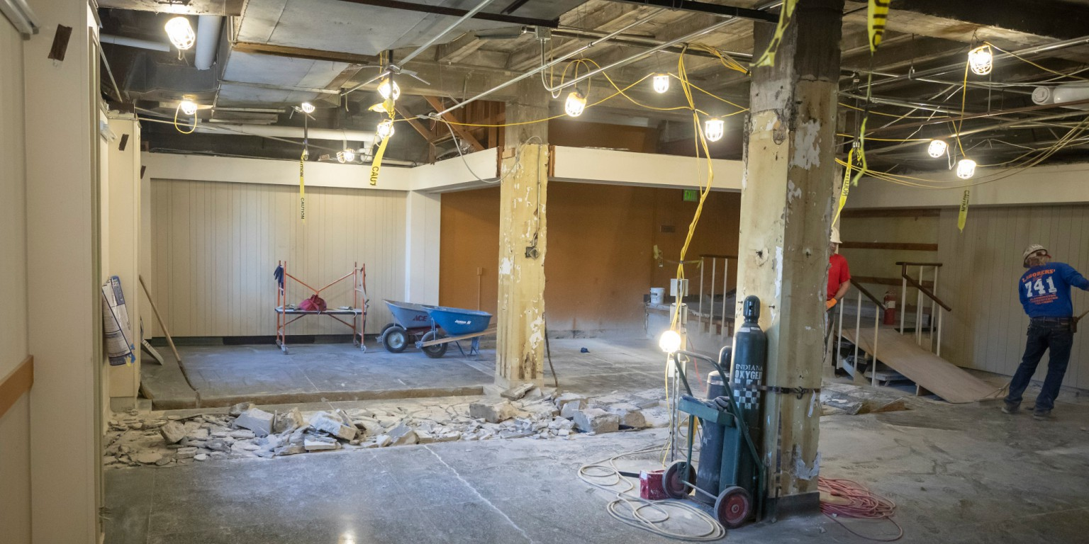 Construction underway inside the Indiana Memorial Union