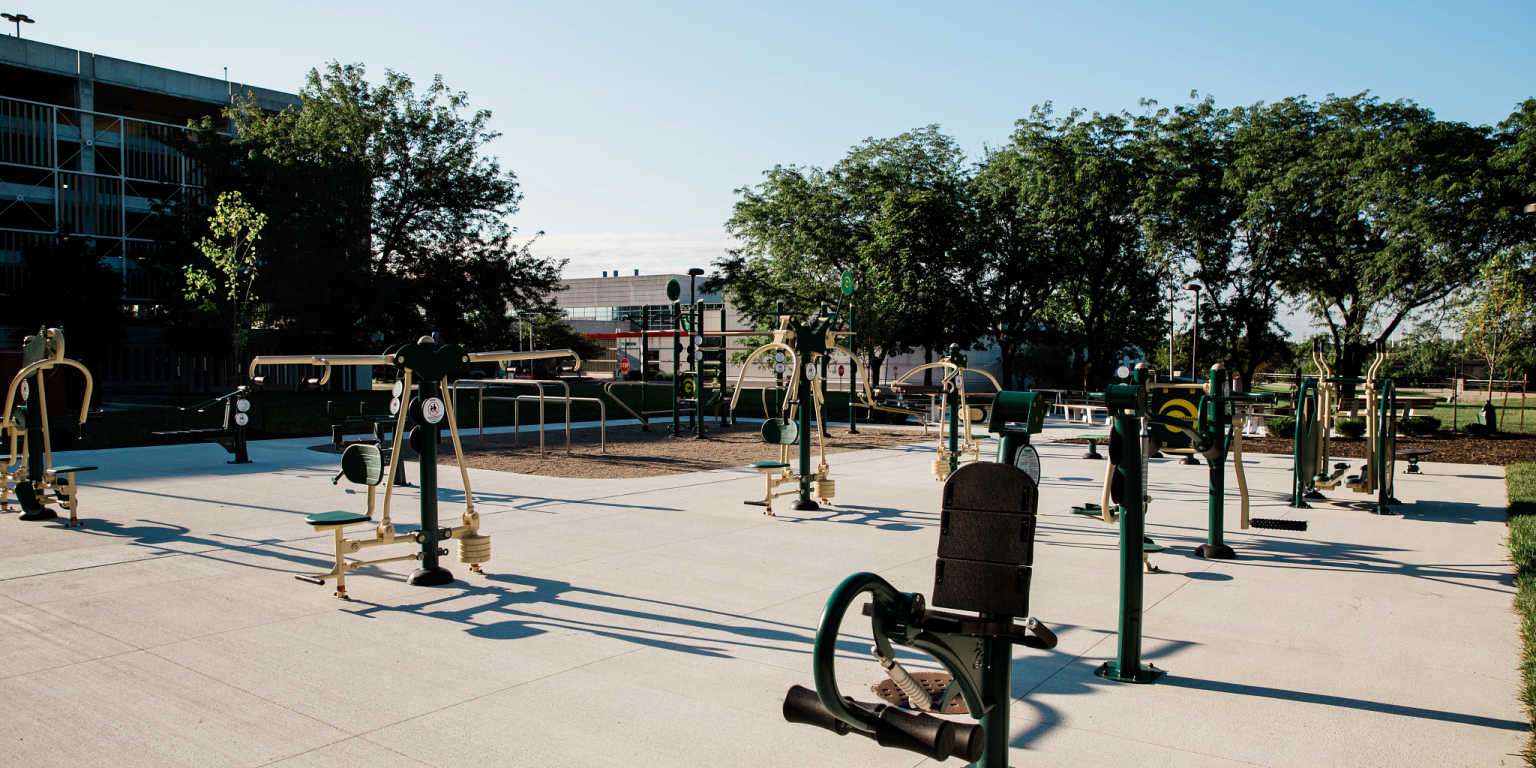 a collection of outdoor fitness equipment
