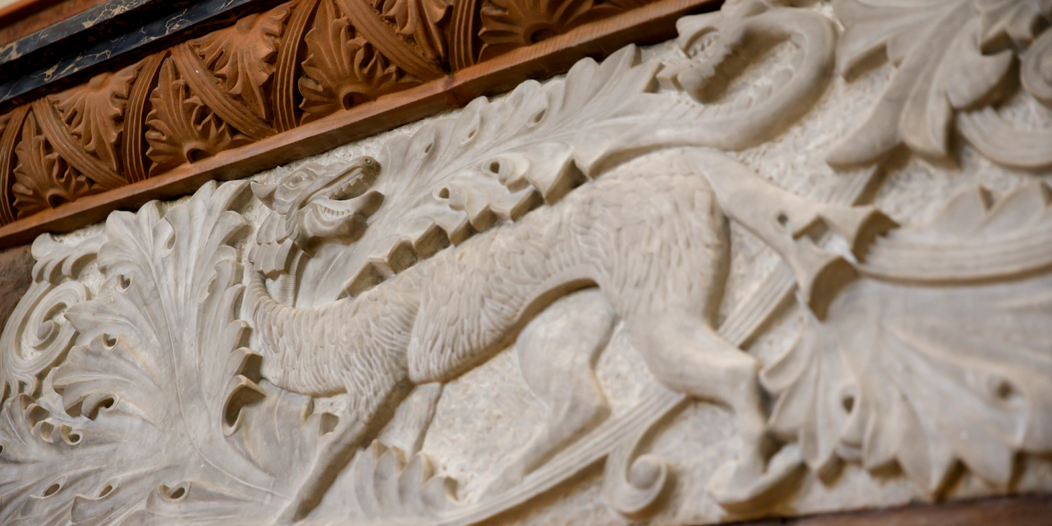 A limestone carving of a dragon