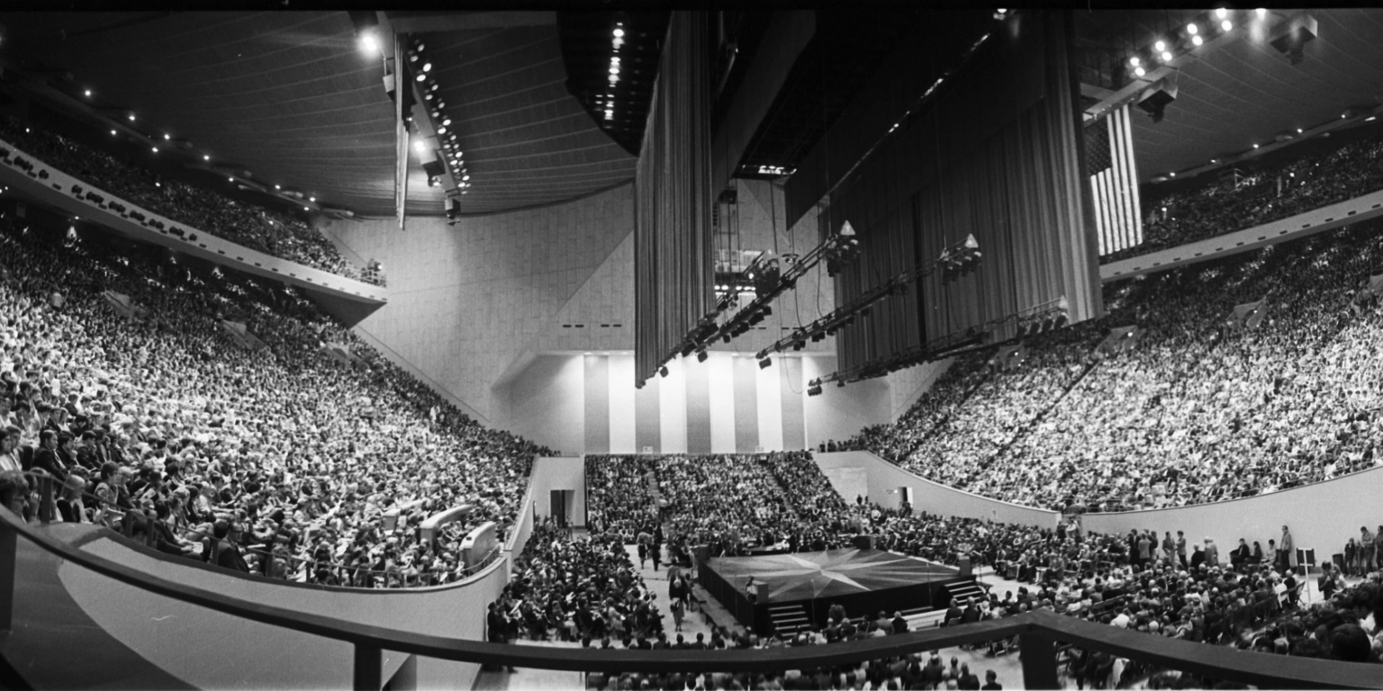 A wide-angle view inside Assembly Hall