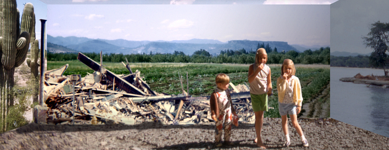 Three children stand near a pile of rubble