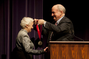 IU Jacobs School of Music Distinguished Professor Violette Verdy received the President's Medal from IU President Michael A. McRobbie on Oct. 5.