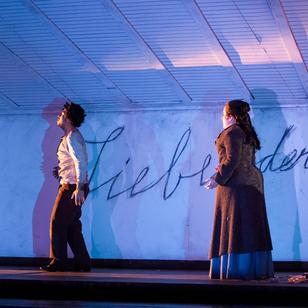 Lorenzo Garcia and Jacquelyn Matava rehearse a scene from