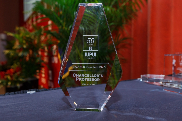 Closeup on a Chancellor's Professor award at Chancellor's Academic Honors Convocation