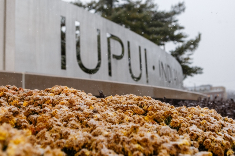 The IUPUI gateway welcomes guests to the Indianapolis campus.