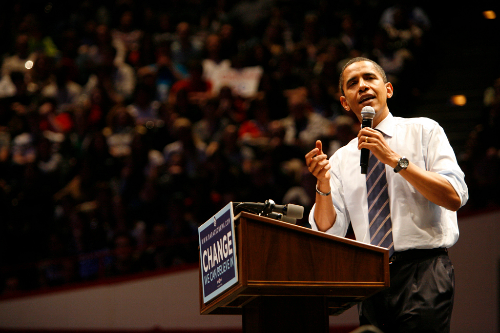 barack Obama speaking at assembly hall