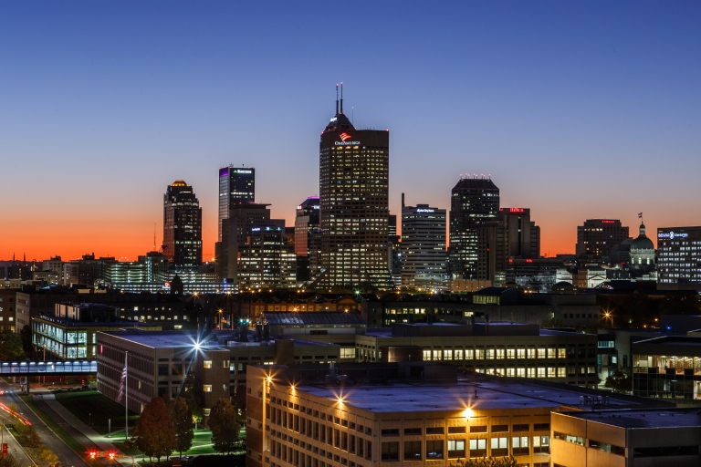 Indianapolis skyline at sunset