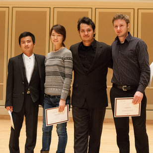 Left to right: Open Division winners Bin Hu, Ye Eun Lee, Misael Barraza Diaz and Jeremy Collins