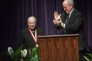 IU Jacobs School of Music professor Menahem Pressler received the University Medal from President Michael A. McRobbie at a Dec. 13, 2013, gala concert held in honor of Pressler's 90th birthday.