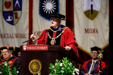 IU President Michael A. McRobbie addresses students at the 2017 undergraduate commencement ceremony