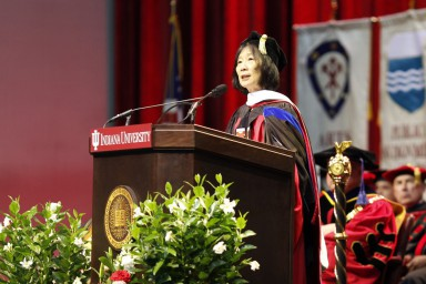 Pauline Yu addresses students at the 2017 graduate commencement ceremony