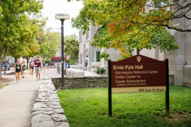 New signage outside Ernie Pyle Hall