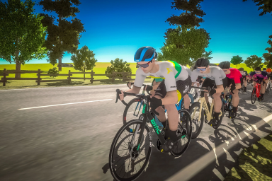 An screenshot of cyclists on a country road in a virtual bike race