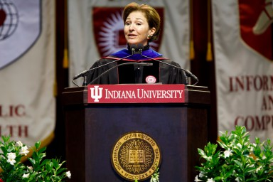 Anne-Marie Slaughter addresses students at the undergraduate commencement ceremony at IU Bloomington