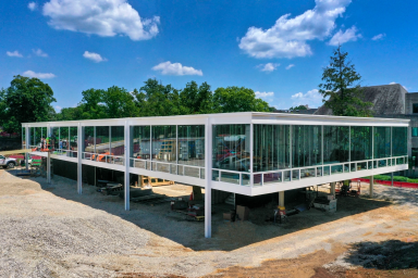 Exterior of the Mies Building under construction