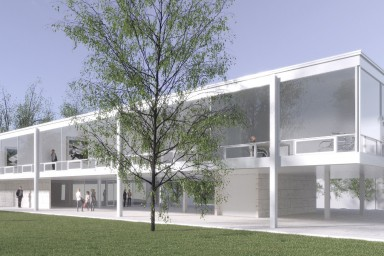 Rendering of the building inspired by a Mies van der Rohe design