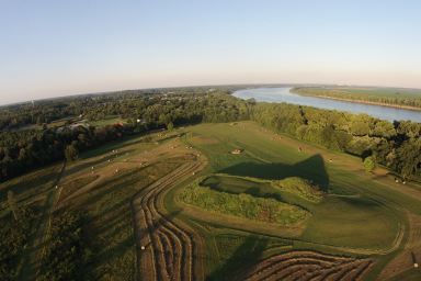 An aerial shot of Angel Mounds