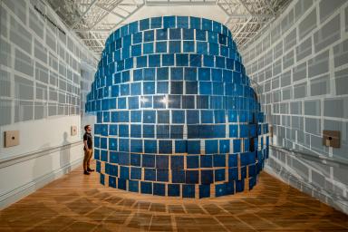 450 indigo cloths hang in the Renwick Gallery