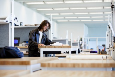 A student at the new architecture building
