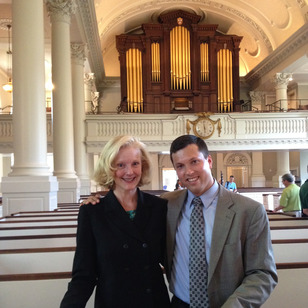 Jonathan Rudy and Janette Fishell after his win in Harvard's historic Memorial Church.