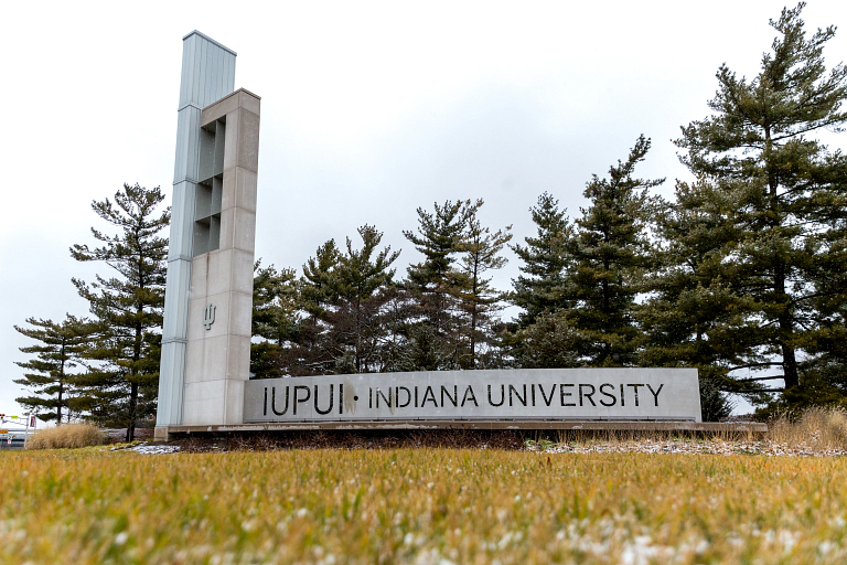 IUPUI gateway in winter