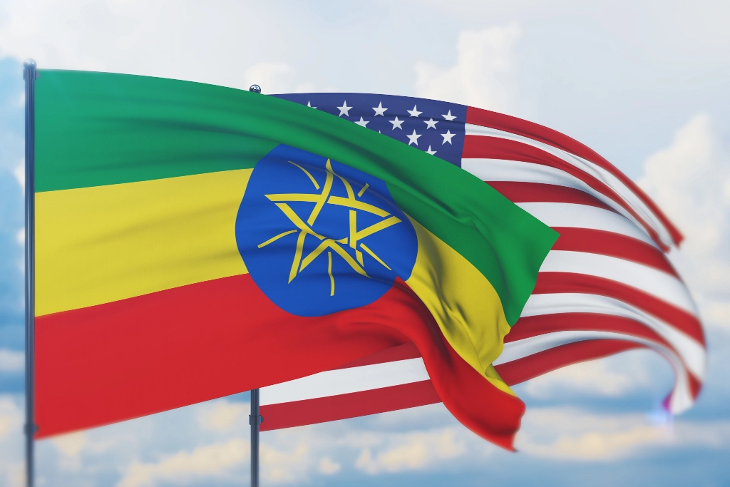 The Ethiopian and American flags wave together