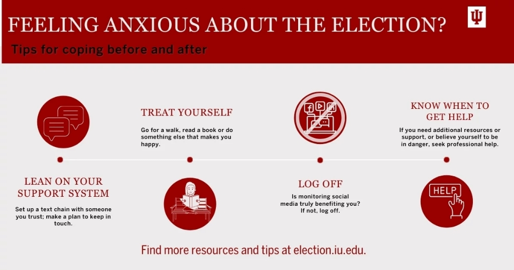 An infographic showing tips for coping with election