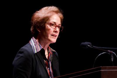 Marie Yovanovitch speaks at a podium