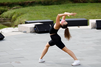 dancer performs at an outdoor amphitheater
