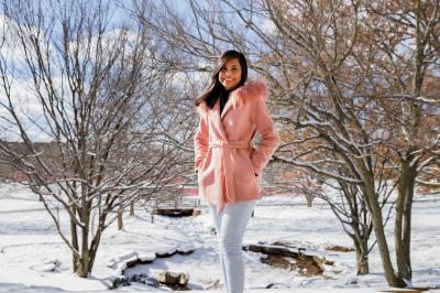 Eashita Singh in a snowy Arboretum