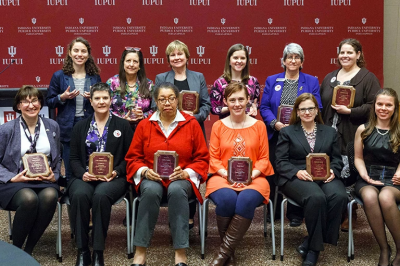 A group of women who received IUPUI's Women's Leadership Awards