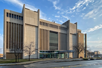 a street-side view of the Health Sciences building