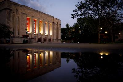 The IU Auditorium exterior at night