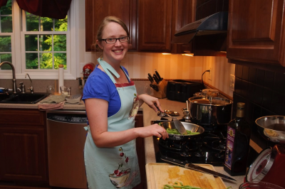 Registered dietitian Katie Shepherd cooks vegetables