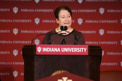 IU Bloomington Provost Lauren Robel speaks at a podium.