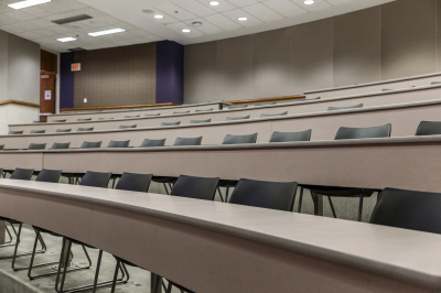 An empty lecture hall on the IUPUI campus
