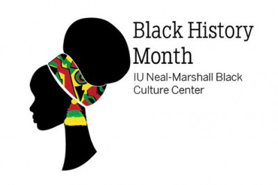 An image of a head with the words IU Neal-Marshall Black Culture Center