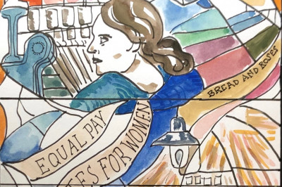 Kelcey Ervick's rendering of a stained-glass window honoring linen workers.