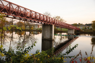 The bridge over the St. Joseph river on the IU South Bend campus