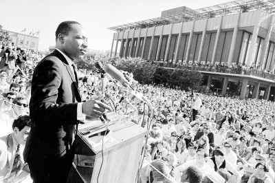 Dr. King speaking to a crowd