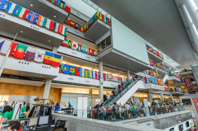 Flags from all United Nations member and observer states are on display in the Campus Center.
