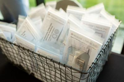 A bin full of naloxone kits given away during a 2018 training.